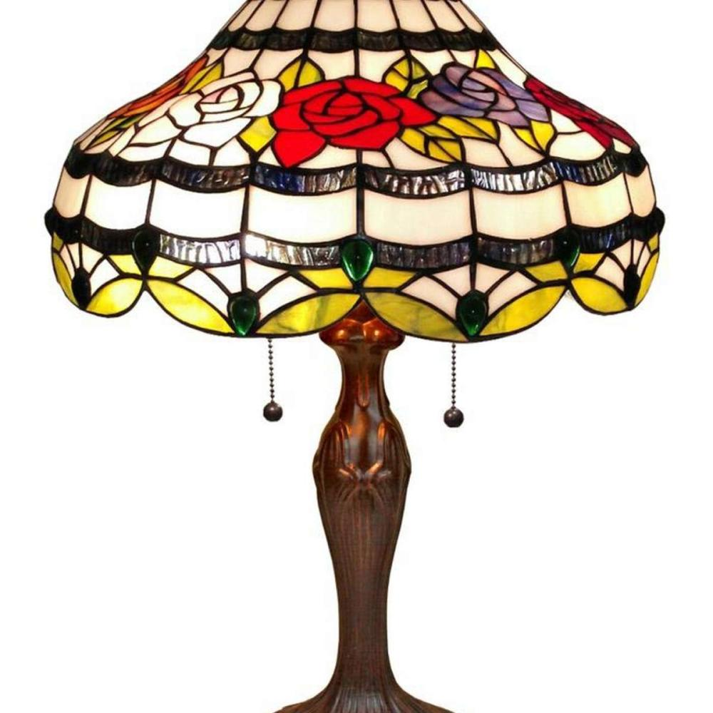 LIGHTING TIFFANY STYLE ROSES TABLE LAMP 24 IN