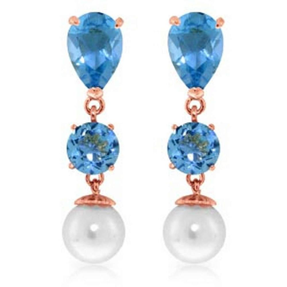 10.5 CTW 14K Solid Rose Gold Drop Earrings Blue Topaz And pearl