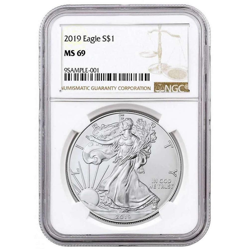 Certified Uncirculated Silver Eagle 2019 MS69 NGC