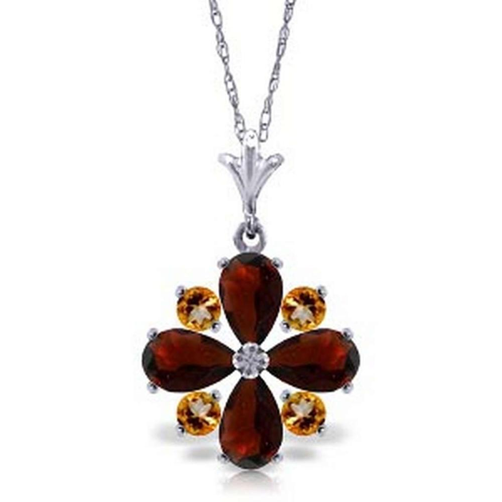 2.43 CTW 14K Solid White Gold Paved Path Garnet Citrine Necklace
