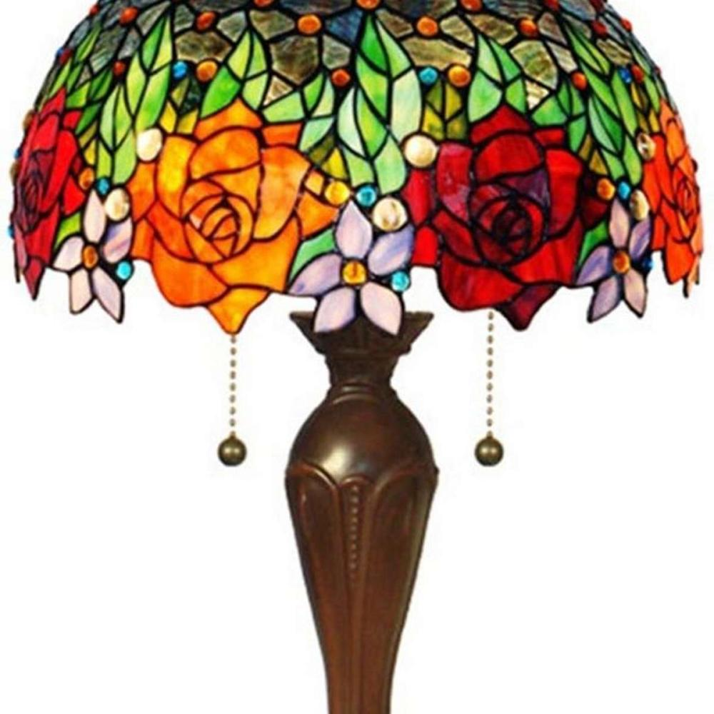 IGHTING TIFFANY STYLE ROSES TABLE LAMP 23 IN