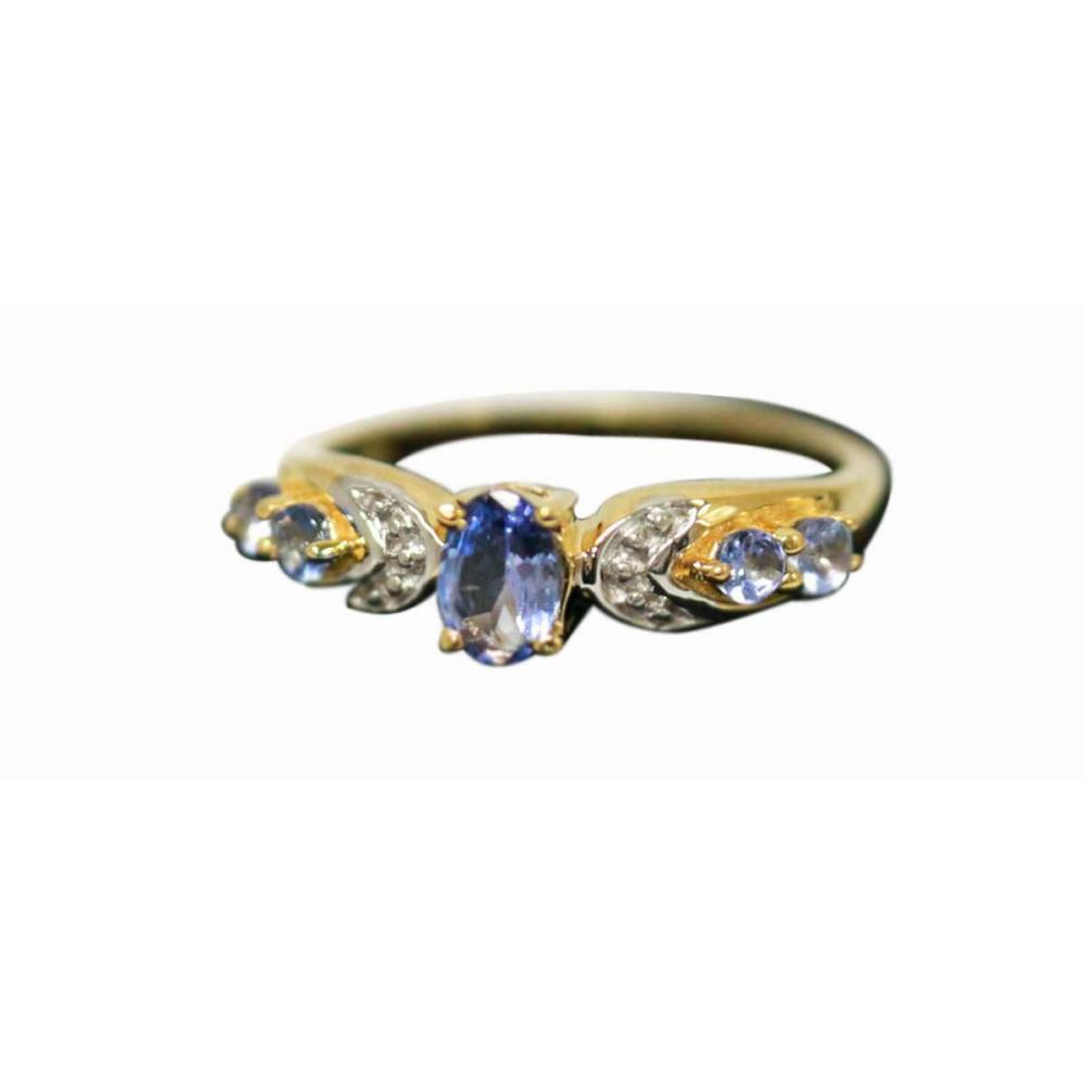 14K GOLD PLATED TANZANITE RING 0.85 CTW