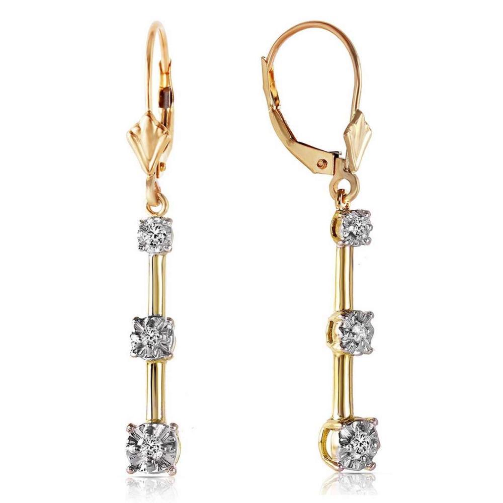 Lot 1092: 0.2 Carat 14K Solid Gold Leverback Diamond Earrings