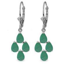 Lot 1097: 4.5 Carat 14K Solid White Gold Gazelle Emerald Earrings