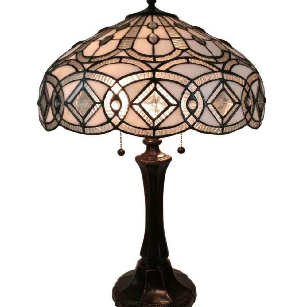 TIFFANY STYLE FLORAL DESIGN TABLE LAMP 24 INCHES TALL