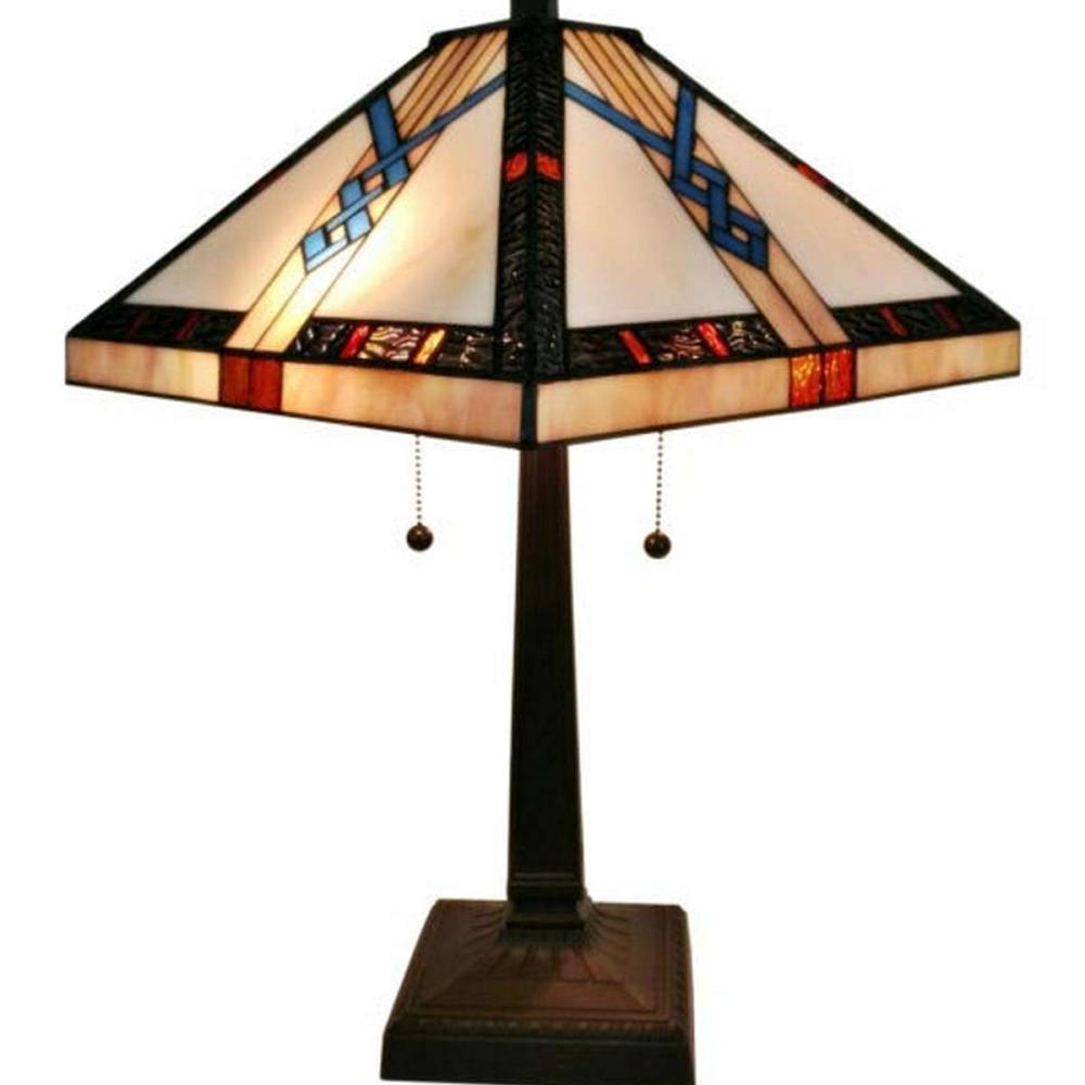 LIGHTING TIFFANY-STYLE MISSION TABLE LAMP 23 INCHES TALL