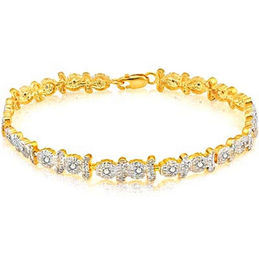 14K Yellow Gold Plated 0.099 Carat Genuine White Diamond .925 Sterling Silver Bracelet