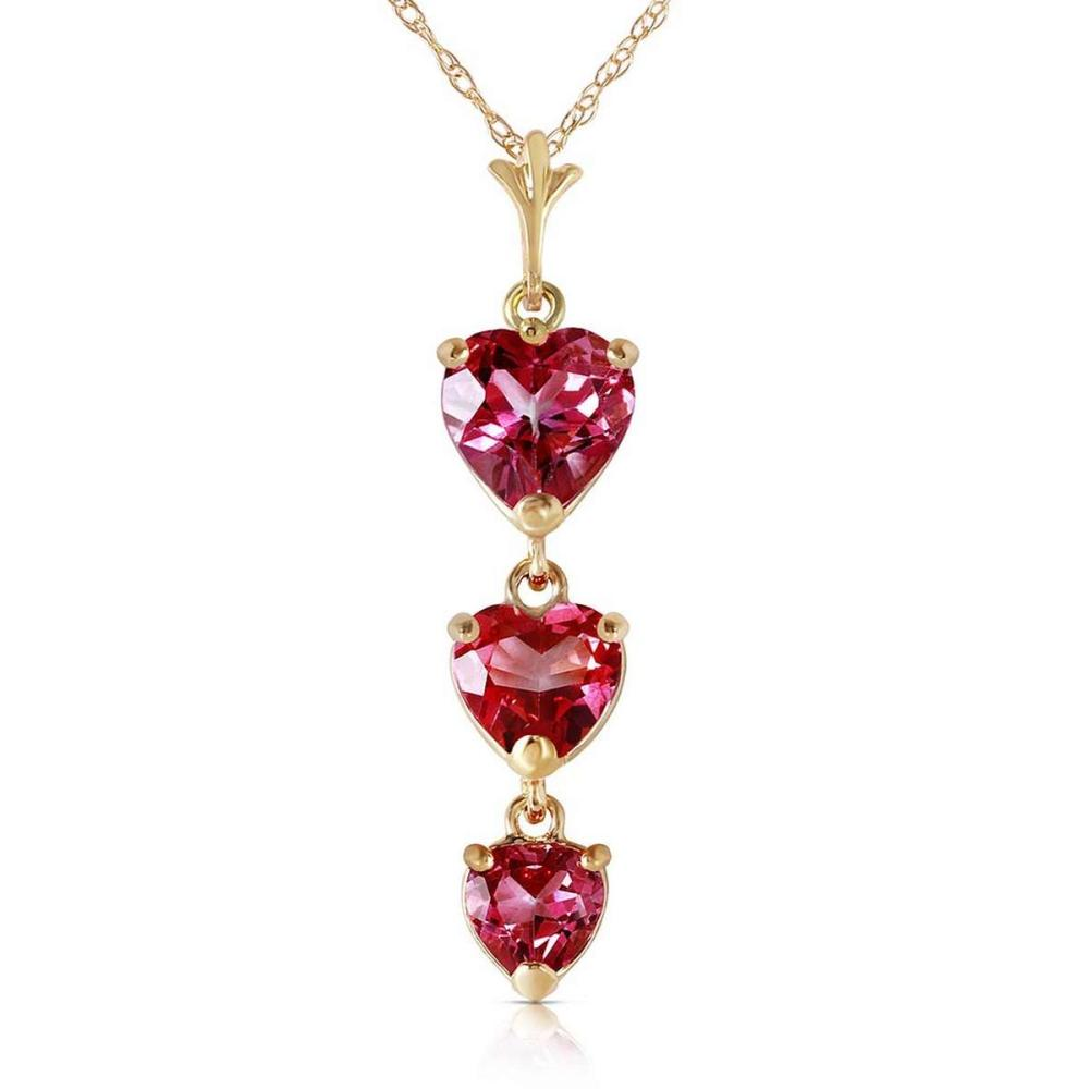 3.03 Carat 14K Solid Gold Hand On Heart Pink Topaz Necklace