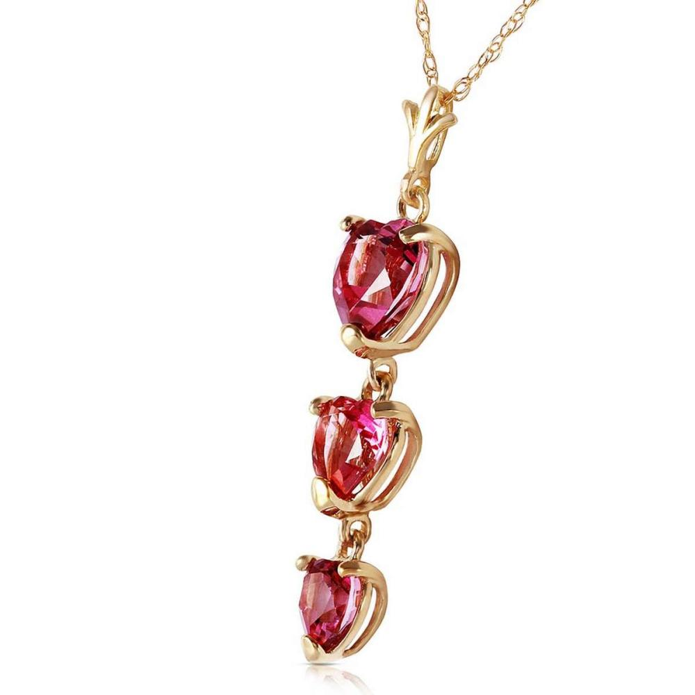 Lot 1123: 3.03 Carat 14K Solid Gold Hand On Heart Pink Topaz Necklace