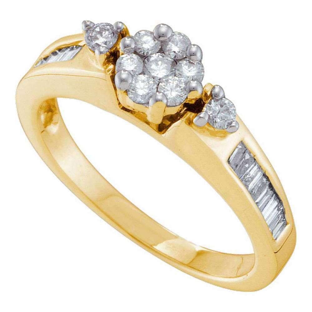 14k Yellow Gold Womens Round Diamond Flower Cluster Fashion Ring 1/2 Cttw