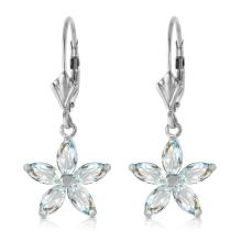 Lot 1126: 2.8 Carat 14K Solid White Gold Stand Firm Aquamarine Earrings