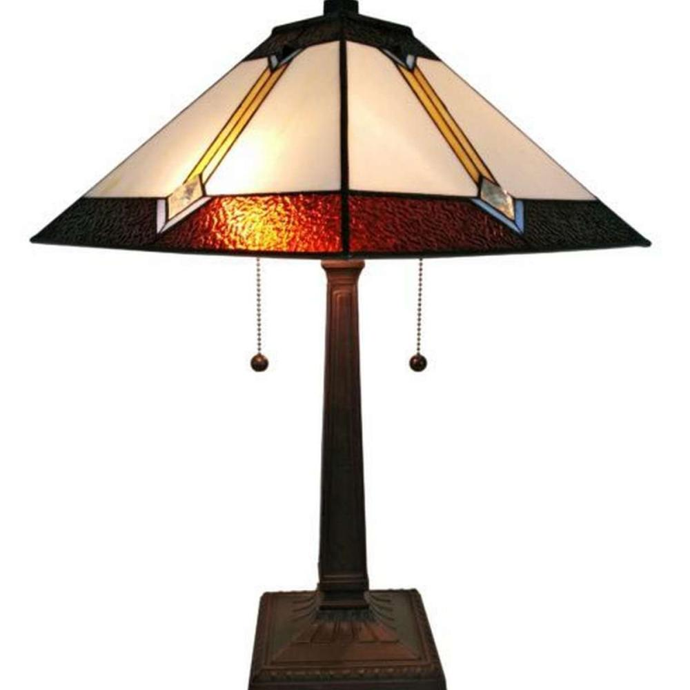 LIGHTING TIFFANY STYLE MISSION TABLE LAMP 21 IN HIGH