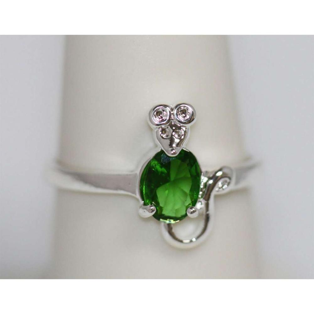 Lot 1130: EMERALD CZ .925 STERLING SILVER RING