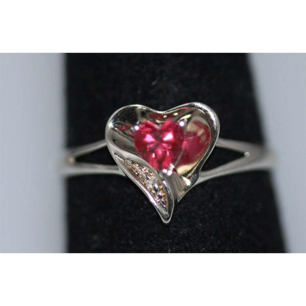 0.01 CTW DIAMOND AND CREATION RUBY RING .925 STERLING S