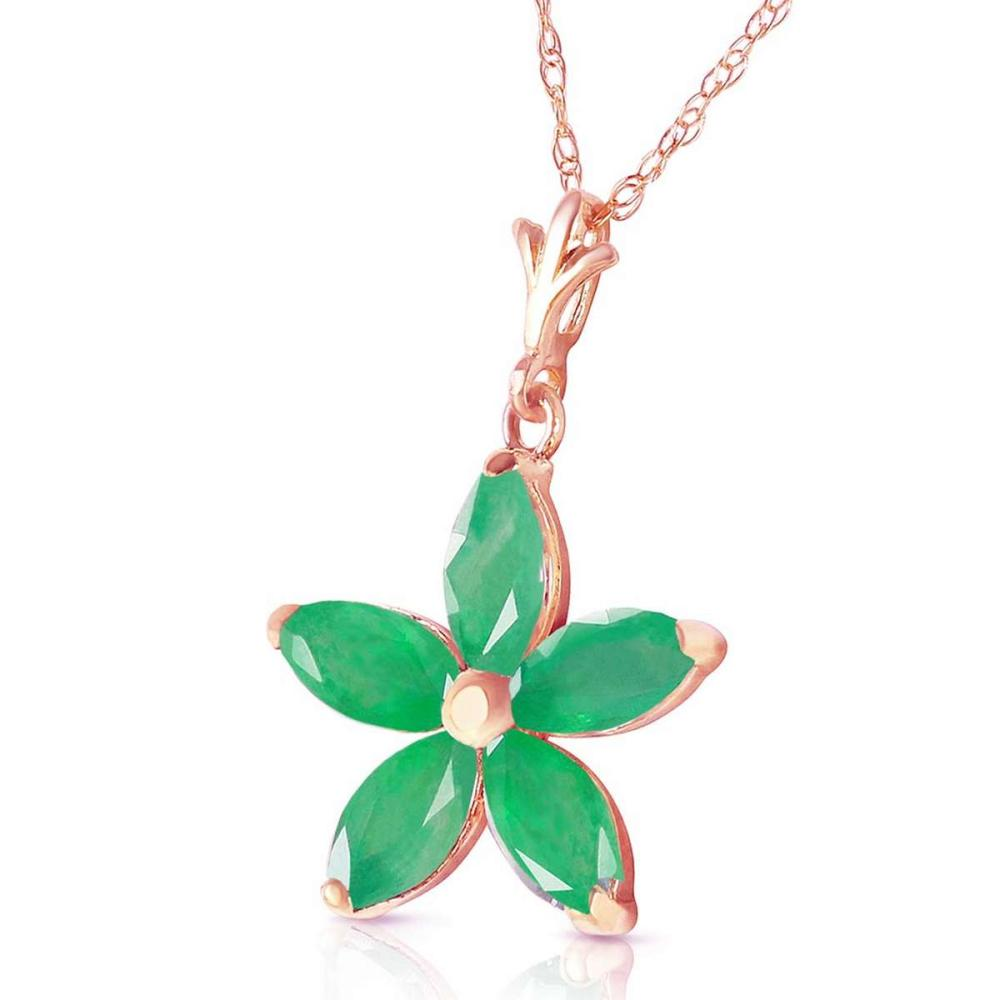 Lot 1133: 14K Solid Rose Gold Necklace with Natural Emeralds