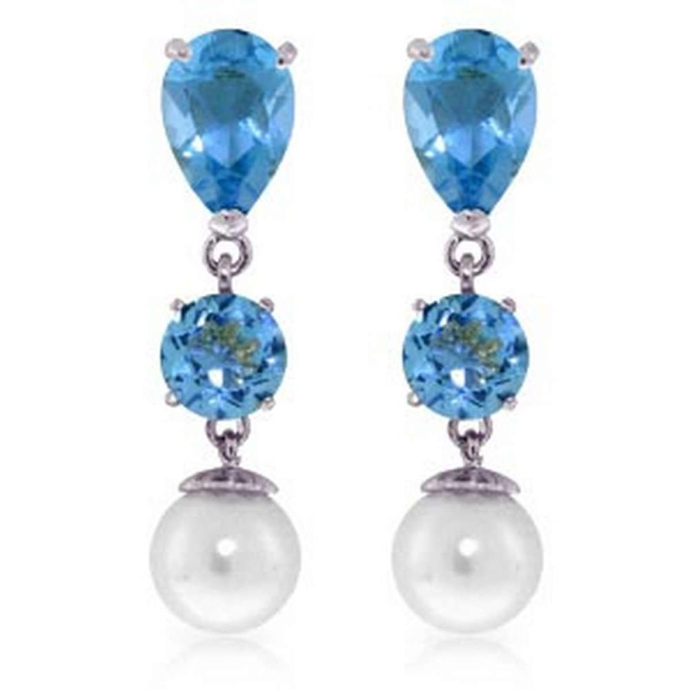 10.5 Carat 14K Solid White Gold Burning Up Blue Topaz pearl Earrings