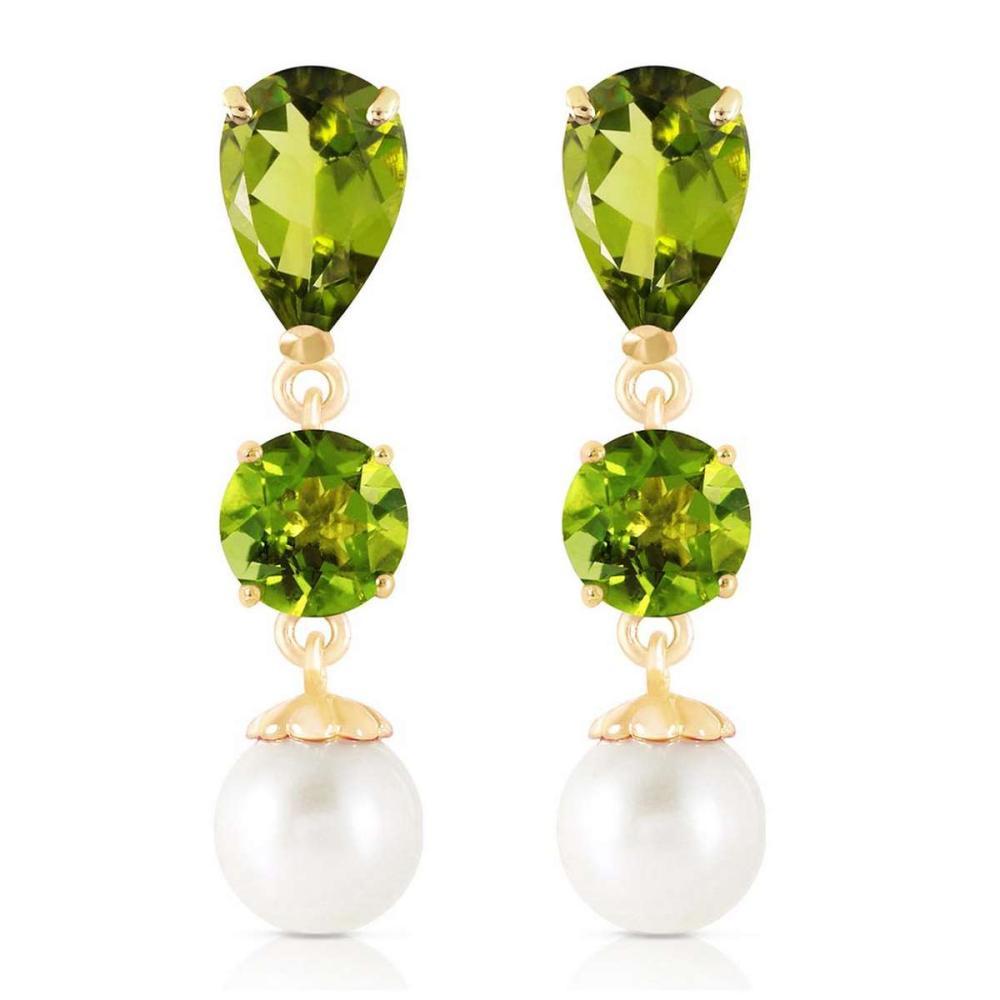 Lot 1137: 10.5 CTW 14K Solid Gold Chandelier Earrings Peridot pearl