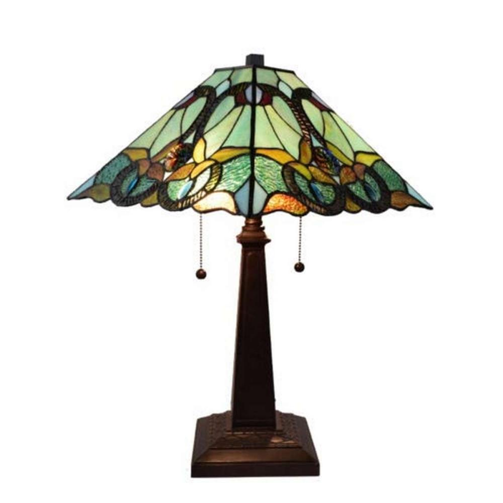 LIGHTING TIFFANY STYLE FLORAL MISSION TABLE LAMP 23 IN HIGH