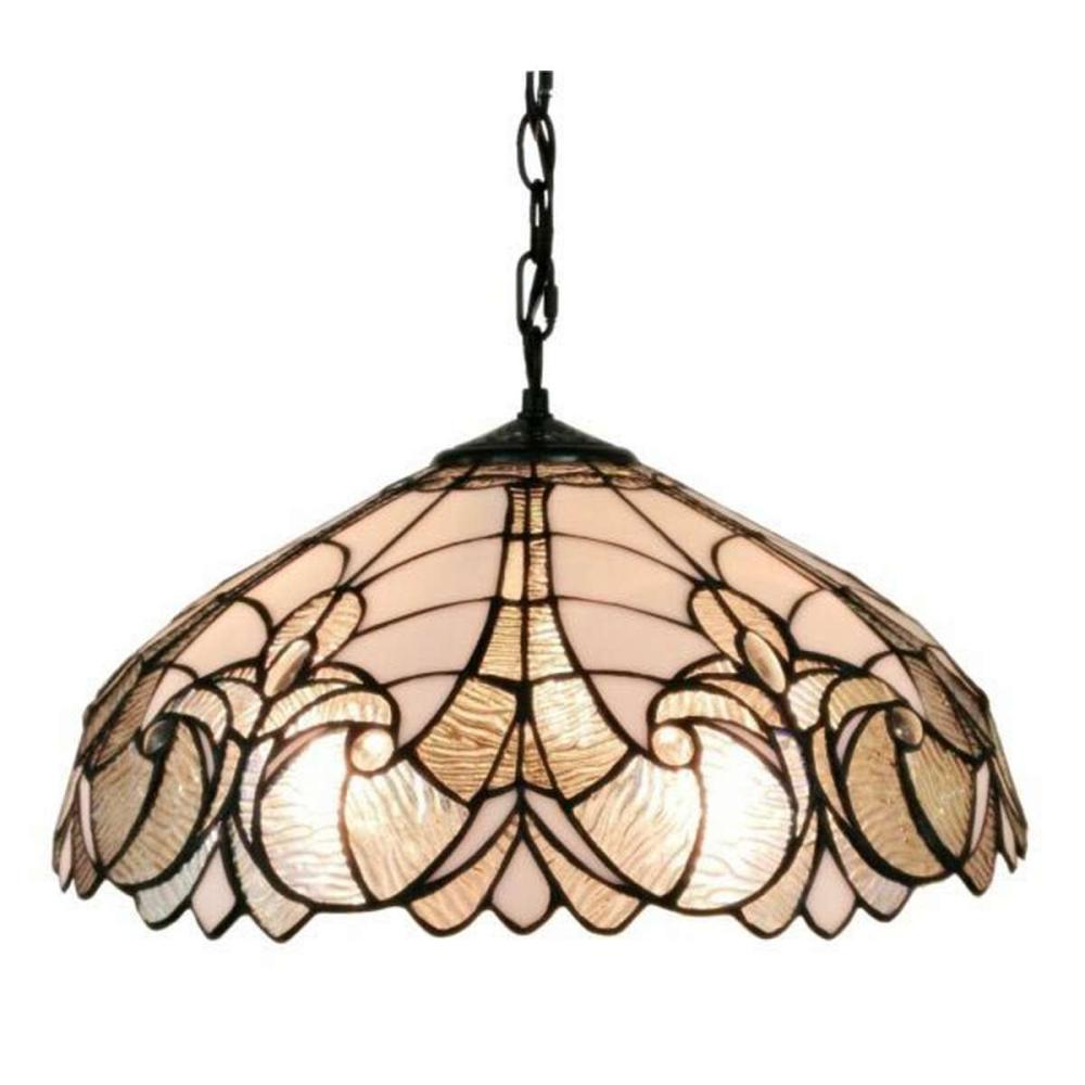 AMORA LIGHTING TIFFANY STYLE FLORAL WHITE HANGING LAMP 18 IN WIDE