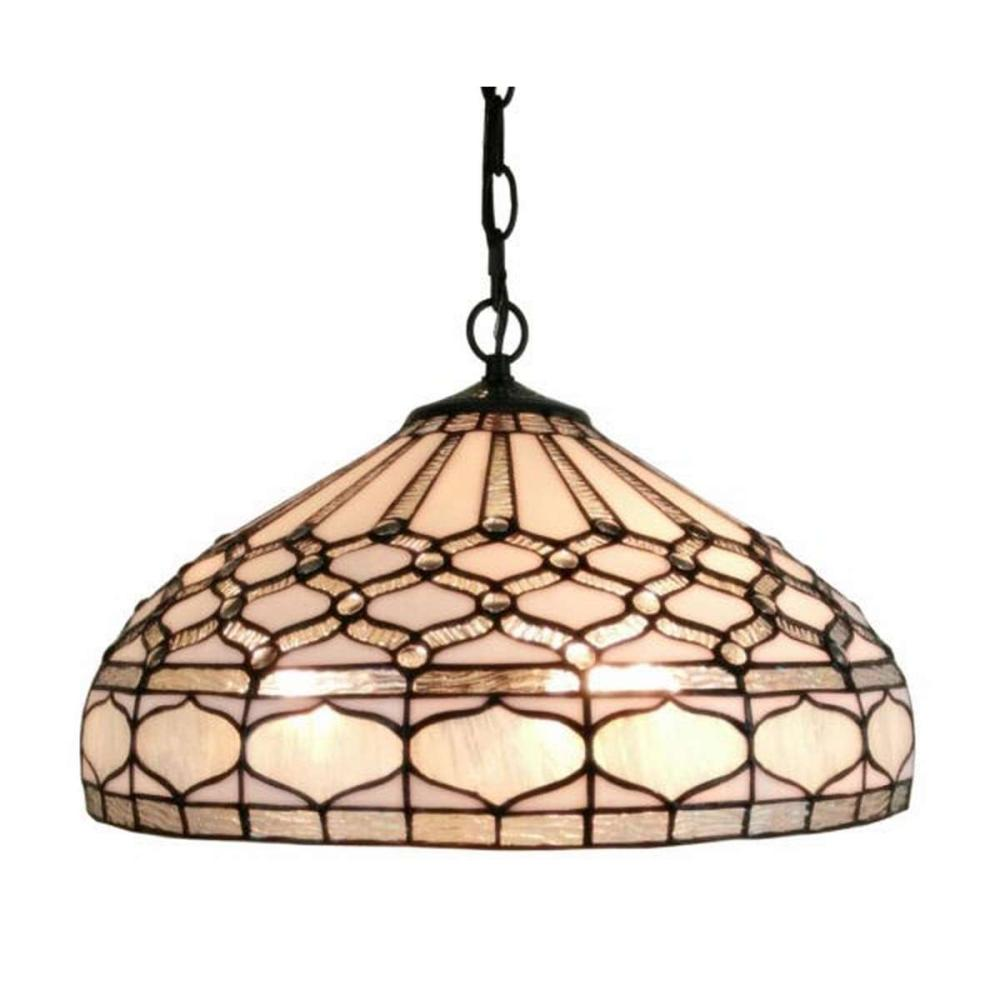 LIGHTING TIFFANY STYLE ROYAL WHITE HANGING LAMP 18 IN WIDE