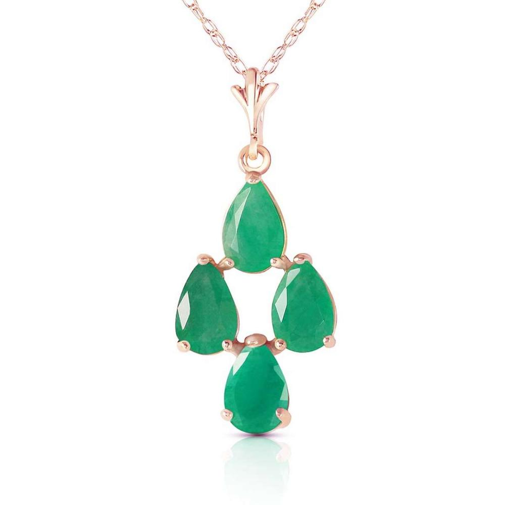 1.5 CTW 14K Solid Rose Gold Pyramid Emerald Necklace