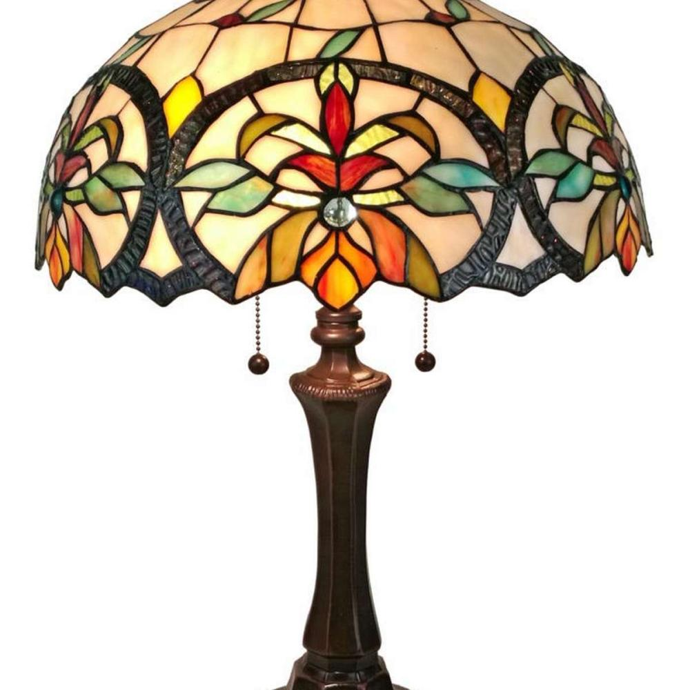 LIGHTING TIFFANY STYLE MULTI-COLOR TABLE LAMP 18 INCHES TALL