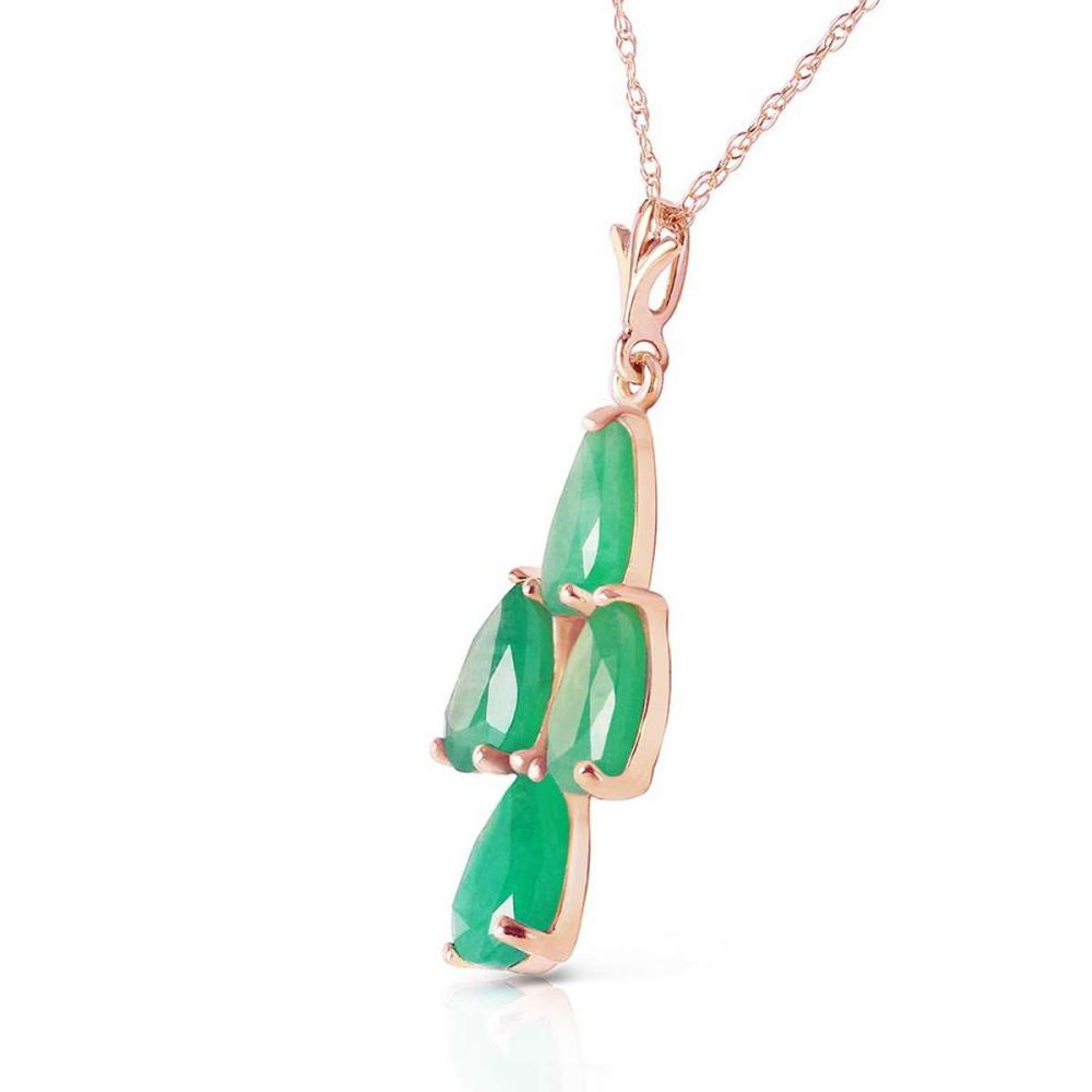 Lot 1144: 1.5 CTW 14K Solid Rose Gold Pyramid Emerald Necklace