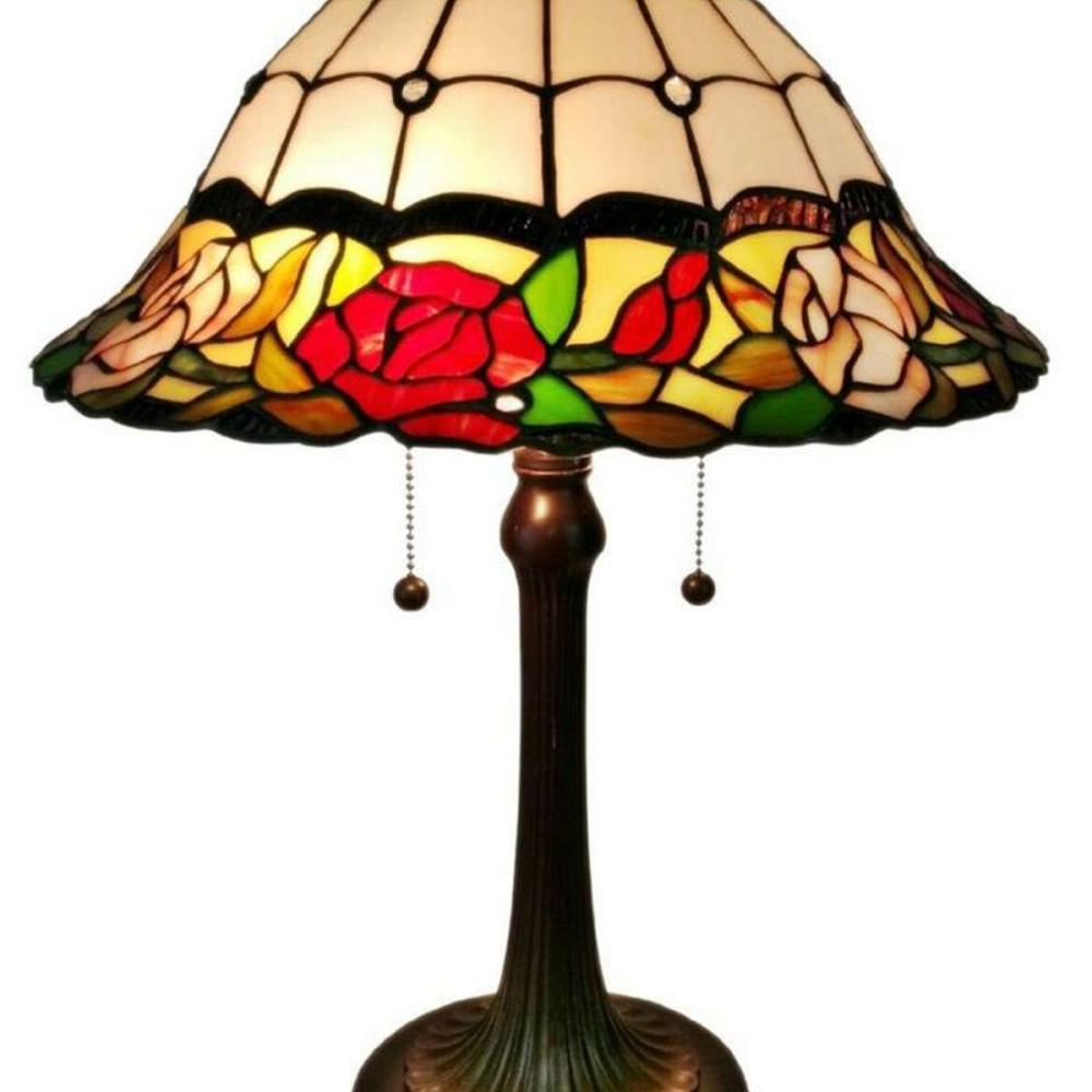 LIGHTING TIFFANY STYLE FLORAL ROSES TABLE LAMP 23 IN TALL