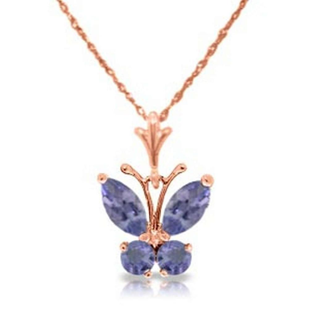 Lot 1159: 0.6 Carat 14K Solid Rose Gold Butterfly Necklace Tanzanite