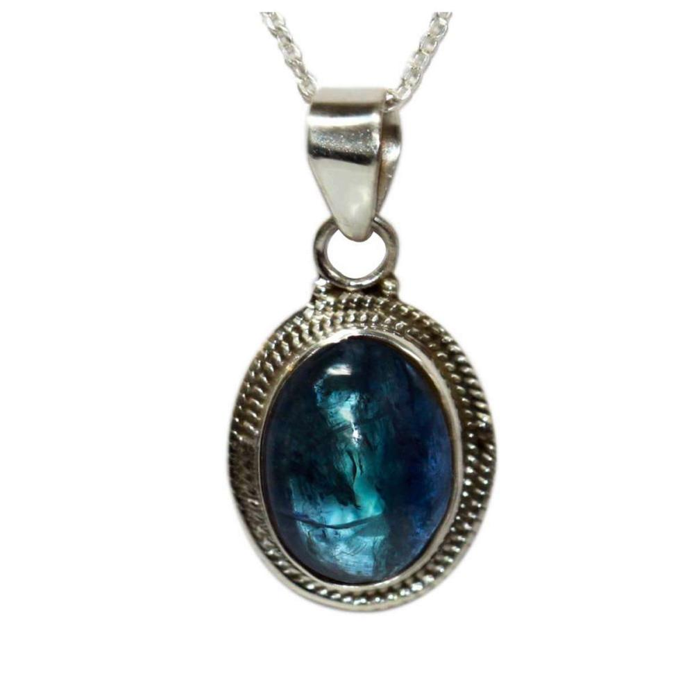 BEAUTIFUL SILVER PENDANT WITH BLUE TANZANITE CTW 6.25