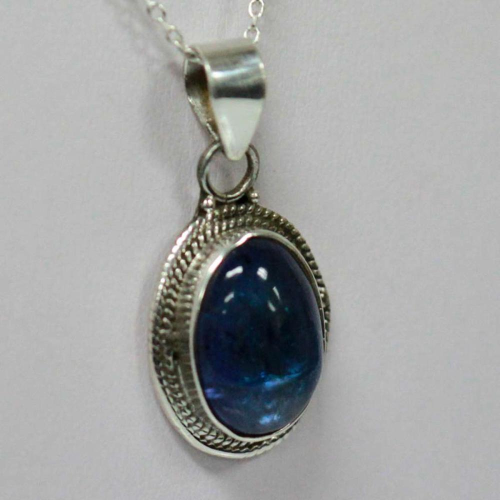 Lot 1160: BEAUTIFUL SILVER PENDANT WITH BLUE TANZANITE CTW 6.25