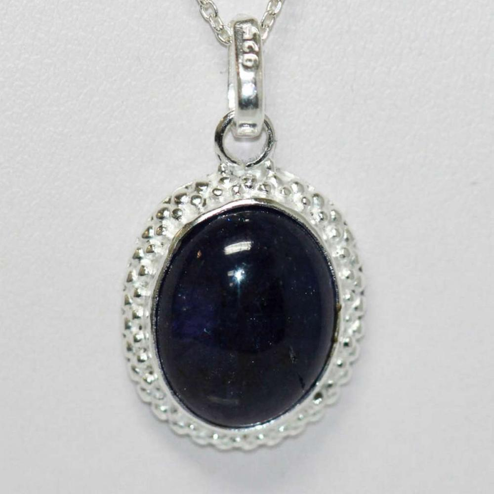 BEAUTIFUL SILVER PENDANT WITH BLUE TANZANITE STONE CTW
