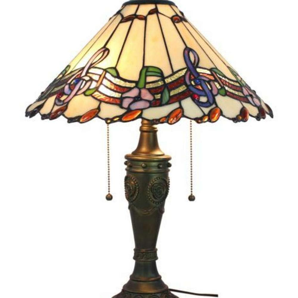 LIGHTING MUSICAL NOTES TIFFANY STYLE TABLE LAMP 24 INCHES TALL