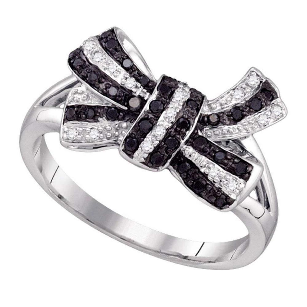 10k White Gold Womens Round Black Color Enhanced Diamond Cluster Bow Ring 1/4