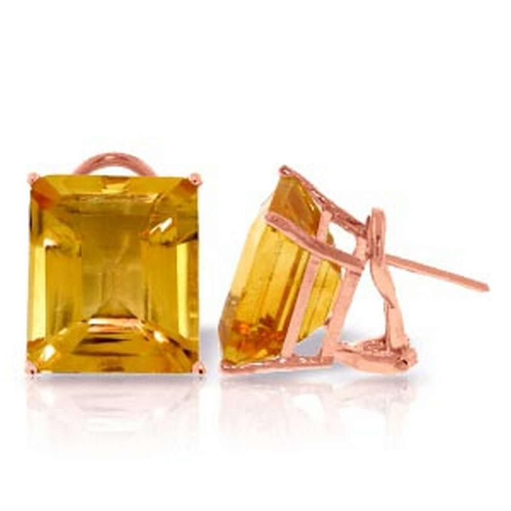 13 CTW 14K Solid Rose Gold Octagon Citrine Earrings