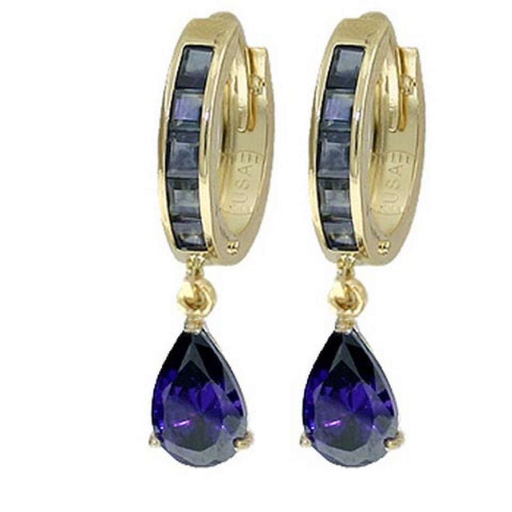 Lot 1168: 4.55 Carat 14K Solid White Gold Hoop Huggie Earrings Sapphire