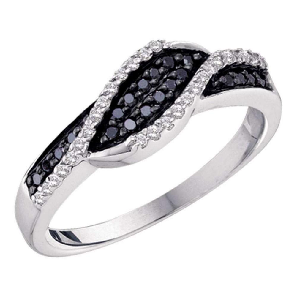 Lot 1169: 14k White Gold Womens Round Black Color Enhanced Diamond Crossover Band 1/4 Cttw