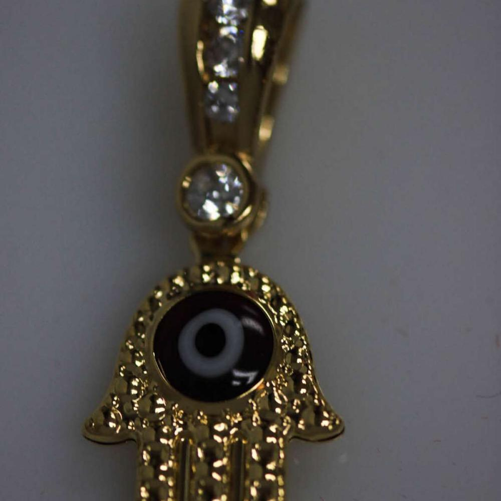 Lot 1172: 14K GOLD PLATED CZ ALL SEEING EYE PENDANT