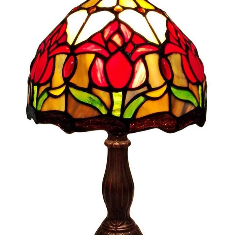 LIGHTING TIFFANY STYLE TULIPS TABLE LAMP 14 INCHES HIGH