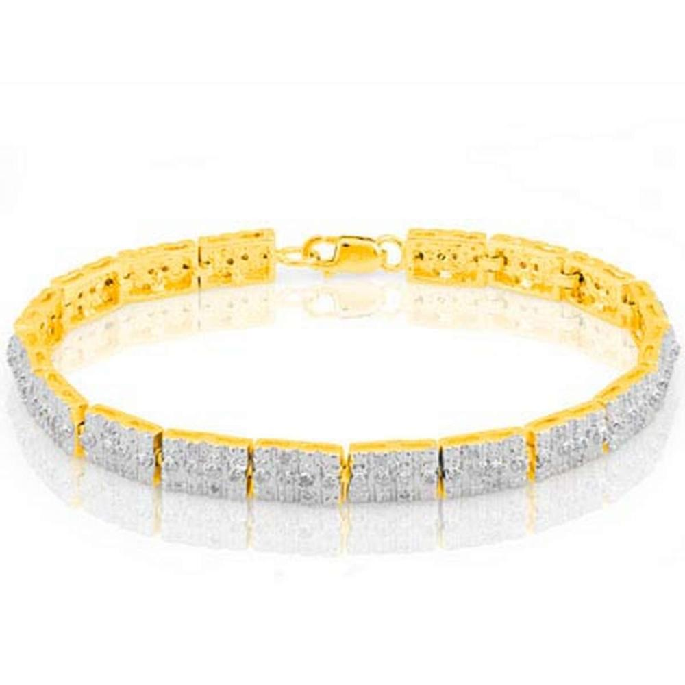 14K Yellow Gold Plated 0.485 Carat Genuine White Diamond .925 Sterling Silver Bracelet