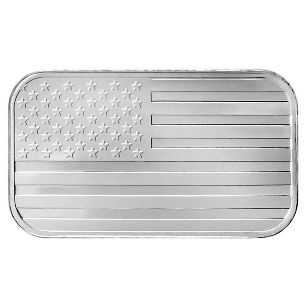 Lot 1184: SilverTowne 1 oz Silver Bar - Flag Design