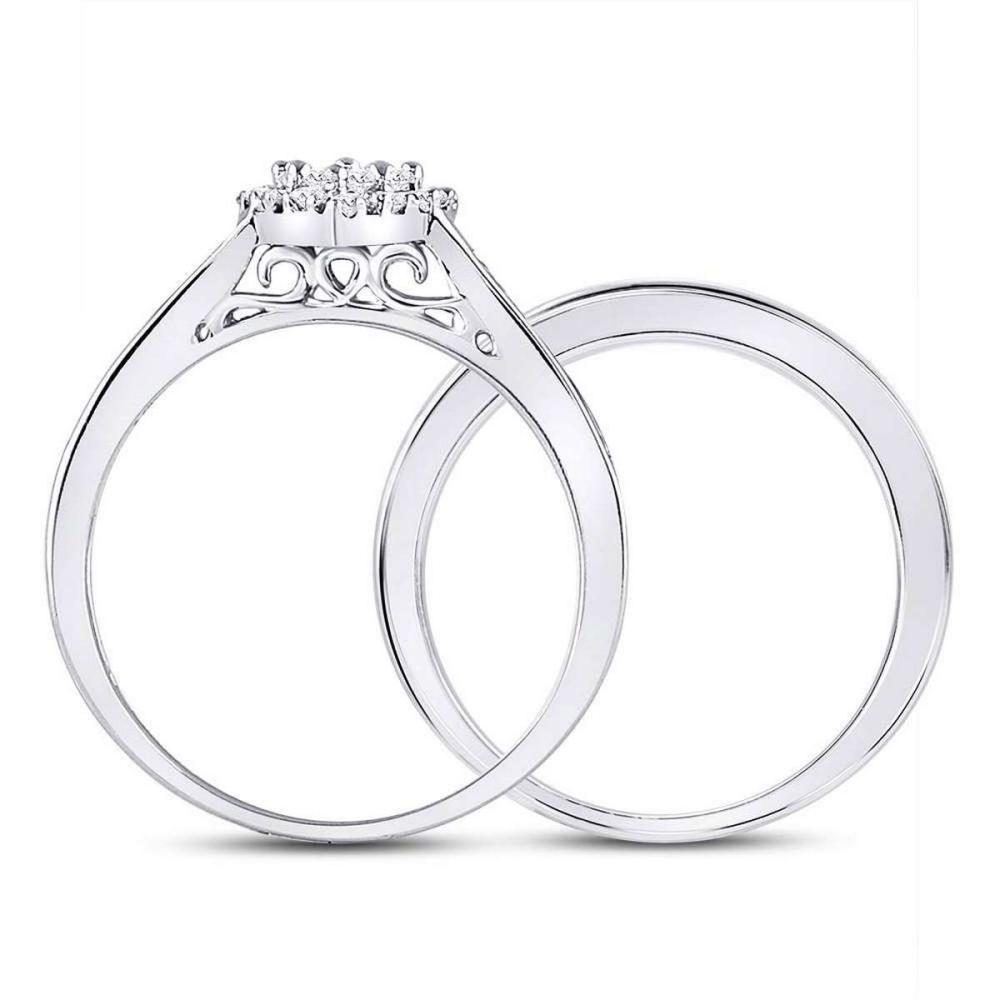 Lot 1188: 14k White Gold Diamond Heart Bridal Wedding Engagement Ring Band Set 1/2 Cttw