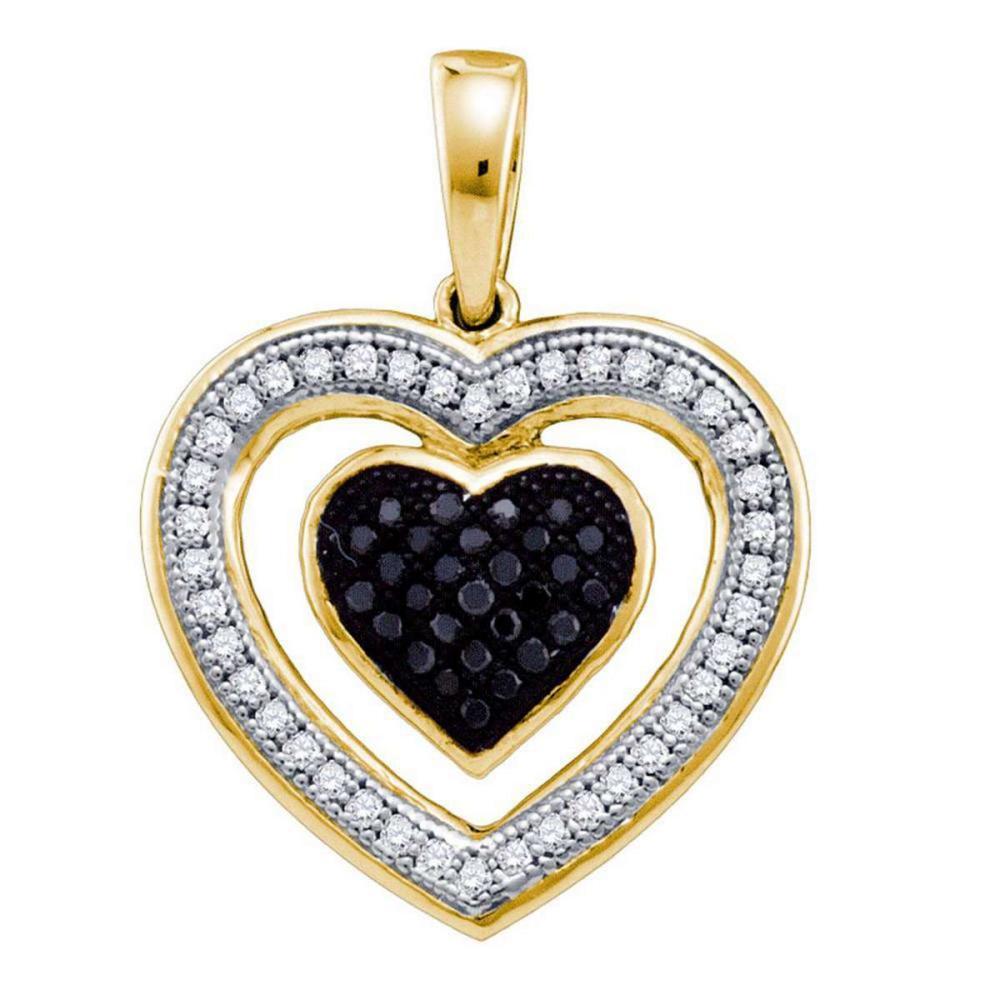 Lot 1193: 10k Yellow Gold Womens Round Black Color Enhanced Diamond Framed Heart Pendant