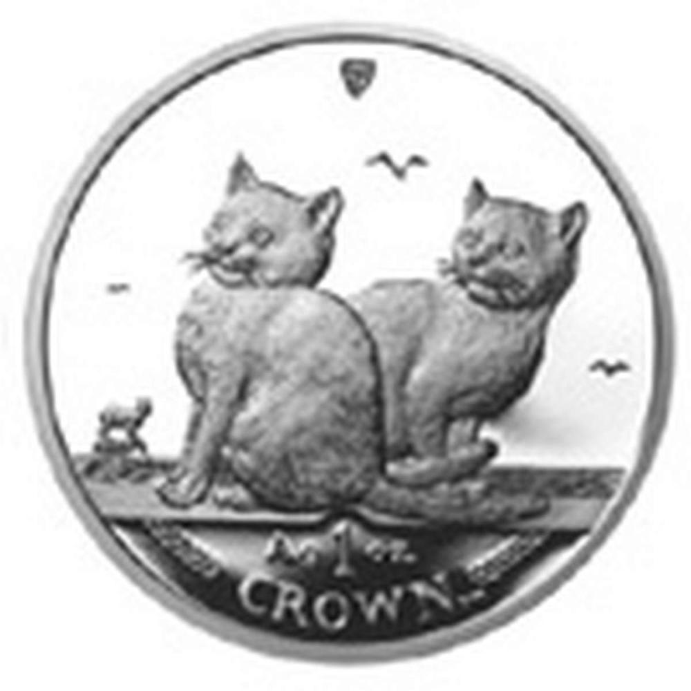 Isle of Man 2003 1 Crown Silver Proof Balinese Cat