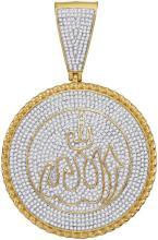 10kt Yellow Gold Mens Round Diamond Allah Medallion Charm Pendant 2-1/4 Cttw