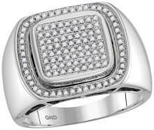 10kt White Gold Mens Round Diamond Square Frame Cluster Ring 1/2 Cttw