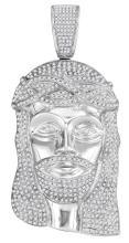 10kt White Gold Mens Round Diamond Jesus Christ Messiah Head Charm Pendant 3.00 Cttw