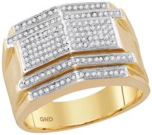 10kt Yellow Gold Mens Round Diamond Symmetrical Arched Cluster Ring 3/8 Cttw