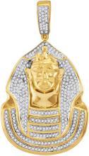 10kt Yellow Gold Mens Round Diamond Pharaoh Cluster Charm Pendant 7/8 Cttw