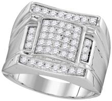 10kt White Gold Mens Round Diamond Arched Square Cluster Ring 1.00 Cttw